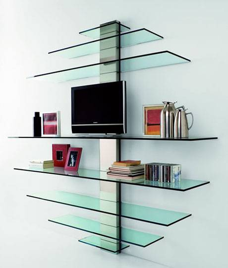 living room glass shelves innovativo porta tv e libreria in vetro 16404