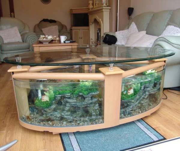 tavolini da soggiorno  tavolini con acquario  arredamento giorno, Disegni interni